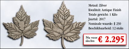 Canada Maple Leaf Forever Antique Finish Cut-Out Zilver 250 Dollar munt 2017